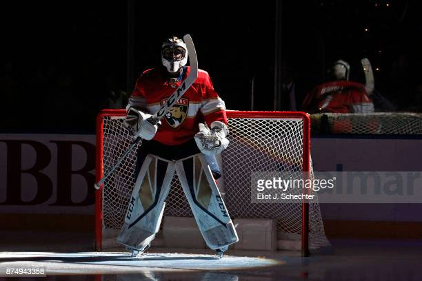 Goaltender Roberto Luongo of the Florida Panthers skates on the ice prior to the start of the game against the Dallas Stars at the BBT Center on...