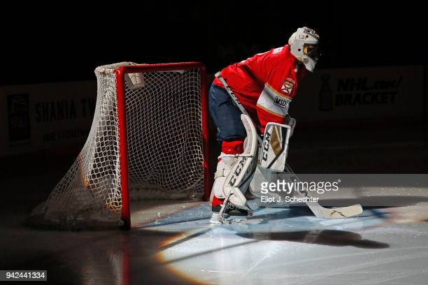 Goaltender Roberto Luongo of the Florida Panthers skates on the ice before playing in his 1000th NHL game against the Boston Bruins at the BBT Center...