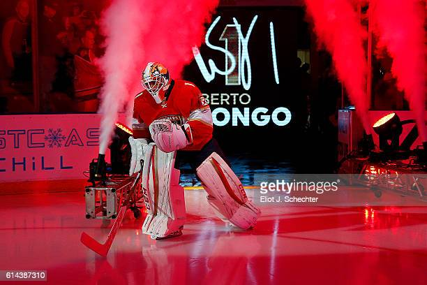 Goaltender Roberto Luongo of the Florida Panthers skates onto the ice prior to the start of the 20162017 season home opener against the New Jersey...