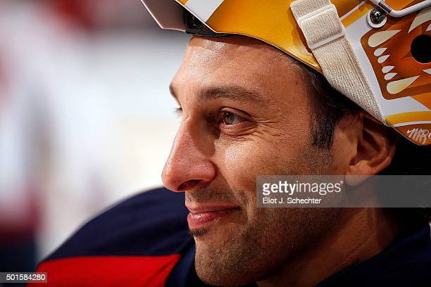 Goaltender Roberto Luongo of the Florida Panthers smiles while warming up on the ice prior to the start of the game against the Washington Capitals...