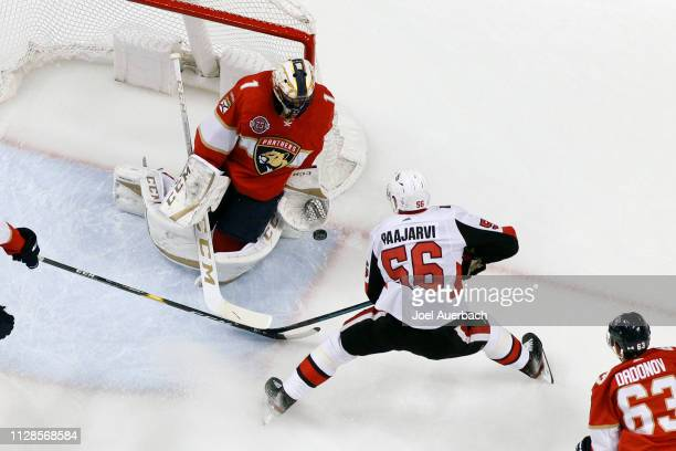Goaltender Roberto Luongo of the Florida Panthers stops a shot by Magnus Paajarvi of the Ottawa Senators at the BB&T Center on March 3, 2019 in...