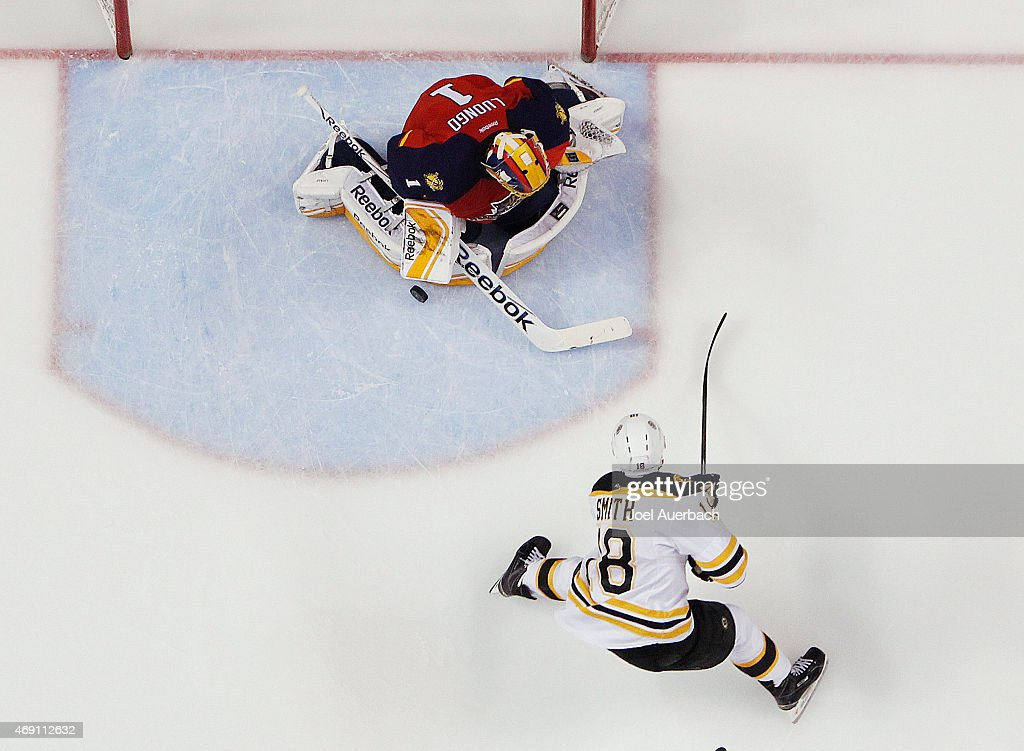 Goaltender Roberto Luongo #1 of the Florida Panthers stops a shot by Reilly Smith #18 of the Boston Bruins at the BB&T Center on April 9, 2015 in Sunrise, Florida. The Panthers defeated the Bruins 4-2.