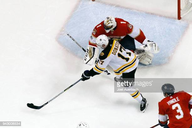Goaltender Roberto Luongo of the Florida Panthers stops a shot by Ryan Donato of the Boston Bruins at the BBT Center on April 5 2018 in Sunrise...