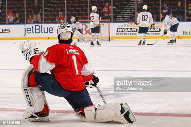 Goaltender Roberto Luongo of the Florida Panthers stretches on the ice during warm ups prior to the start of the game against the Buffalo Sabres at...