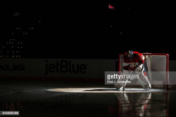 Goaltender Roberto Luongo of the Florida Panthers takes a moment to him self prior to the puck drop against the Ottawa Senators at the BBT Center on...