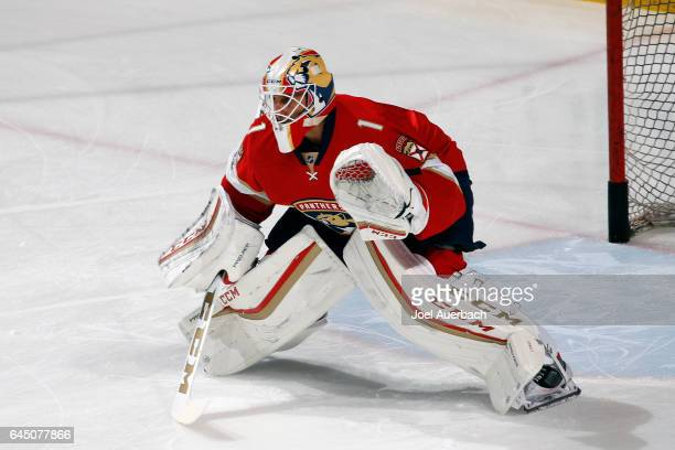 Goaltender Roberto Luongo of the Florida Panthers warms up prior to the game against the Calgary Flames at the BBT Center on February 24 2017 in...