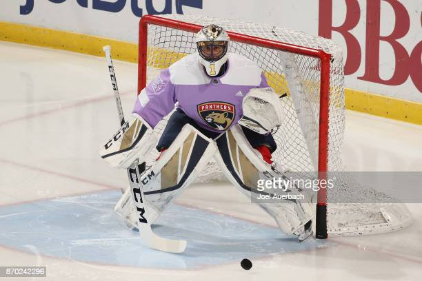 Goaltender Roberto Luongo of the Florida Panthers warms up prior to the game against the New York Rangers at the BBT Center on November 4 2017 in...