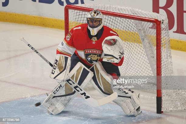 Goaltender Roberto Luongo of the Florida Panthers warms up prior to the game against the Toronto Maple Leafs at the BBT Center on November 22 2017 in...
