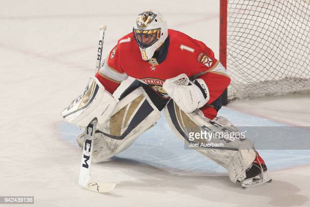 Goaltender Roberto Luongo of the Florida Panthers warms up prior to the game against the Boston Bruins at the BBT Center on April 5 2018 in Sunrise...