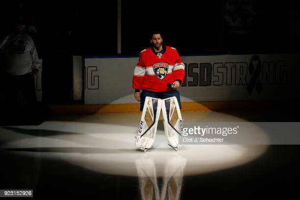 Goaltender Roberto Luongo of the Florida Panthers who is a longtime resident of Parkland Florida speaks to the crowd prior to the start of the game...