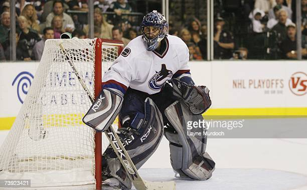 Goaltender Roberto Luongo of the Vancouver Canucks gets set for a shot on goal by the Dallas Stars during game three of the 2007 NHL Western...