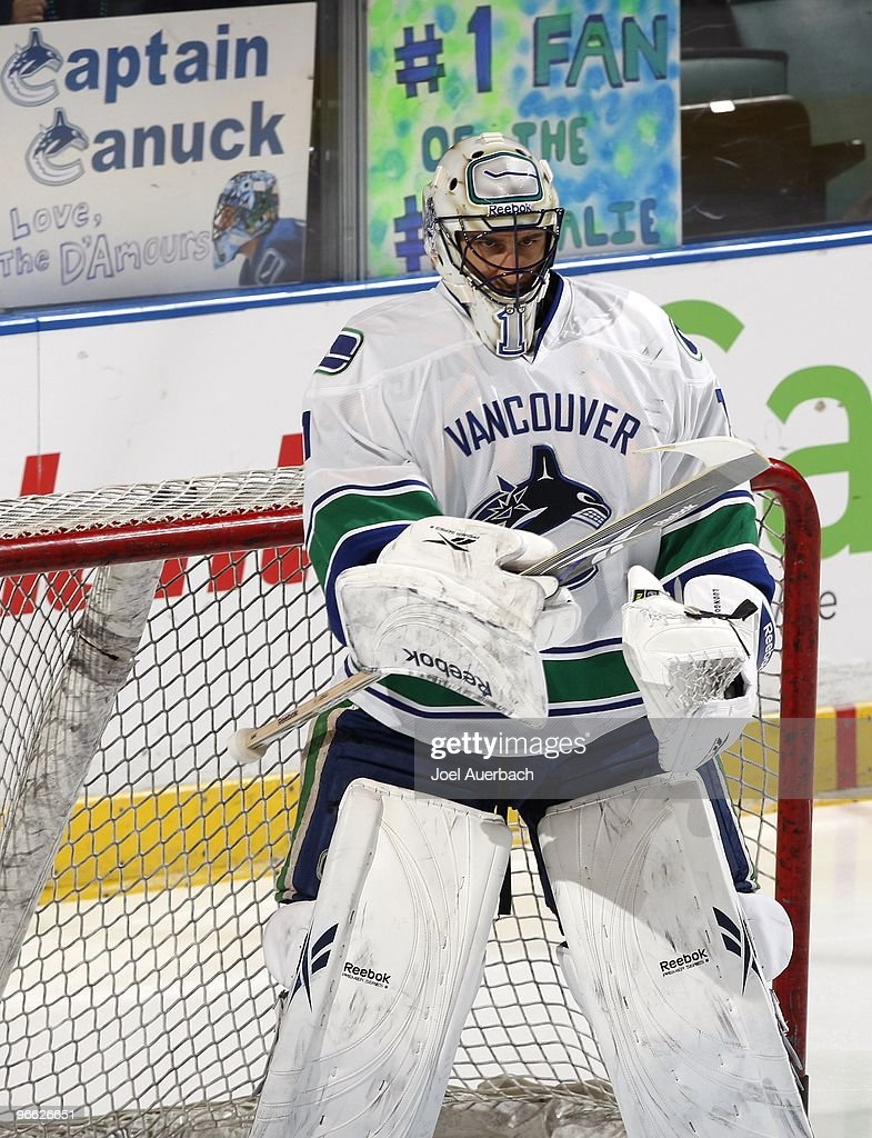 Goaltender Roberto Luongo Of The Vancouver Canucks Prepares For The