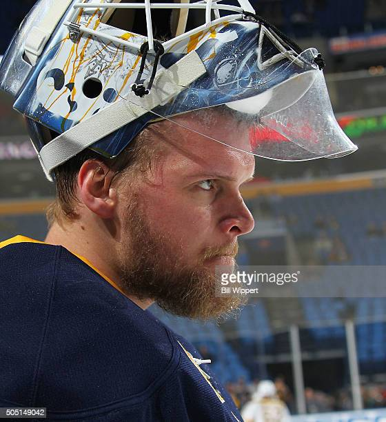 Goaltender Robin Lehner of the Buffalo Sabres prepares to tend goal against the Boston Bruins in an NHL game on January 15 2016 at the First Niagara...