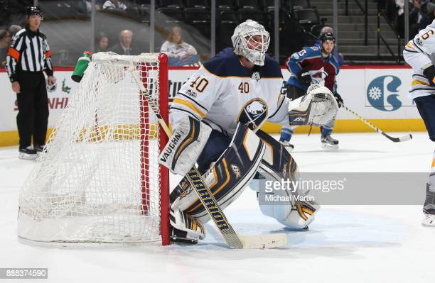 Goaltender Robin Lehner of the Buffalo Sabres stands ready against the Colorado Avalanche at the Pepsi Center on December 5 2017 in Denver Colorado...