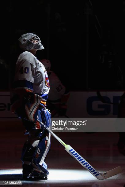Goaltender Robin Lehner of the New York Islanders stands on the ice before the start of the NHL game against the Arizona Coyotes at Gila River Arena...
