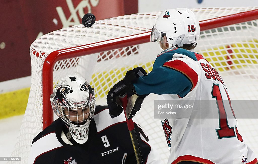 Goaltender Ryan Kubic #20 of the Vancouver Giants makes a save against Tomas Soustal #15 of the Kelowna Rockets during the third period of their WHL game at the Langley Events Centre on November 4, 2016 in Langley, British Columbia, Canada.