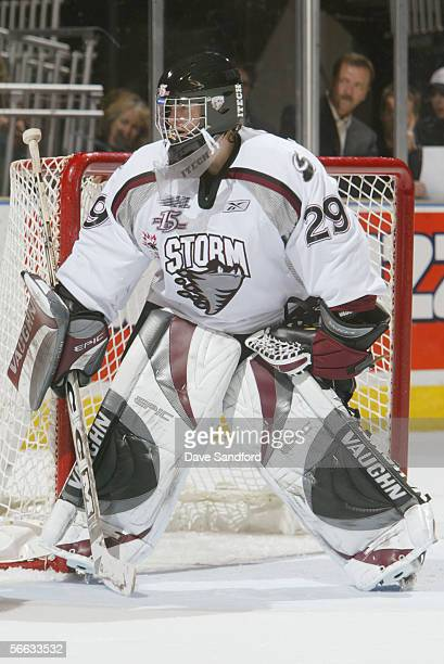 Goaltender Ryan MacDonald of the Guelph Storm gets set to make a save during their OHL game against the London Knights at the John Labatt Centre...
