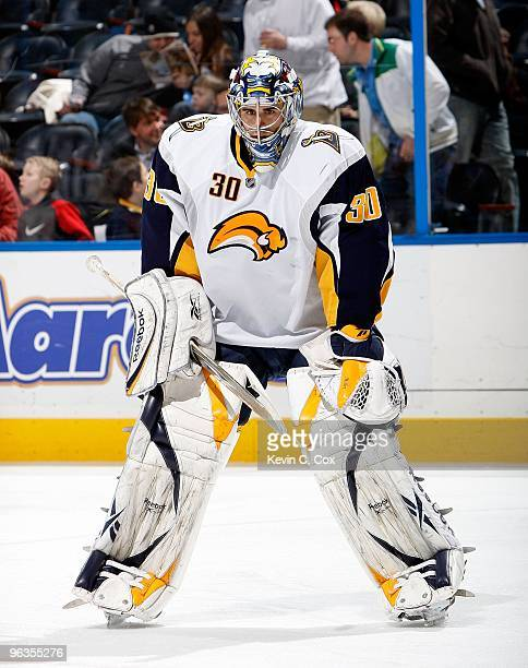 Goaltender Ryan Miller of the Buffalo Sabres against the Atlanta Thrashers at Philips Arena on January 14 2010 in Atlanta Georgia