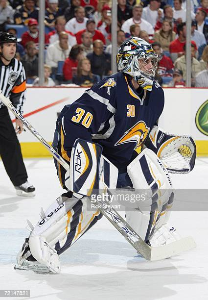 Goaltender Ryan Miller of the Buffalo Sabres defends his net against the Montreal Canandiens during their NHL preseason game on October 6, 2006 at...