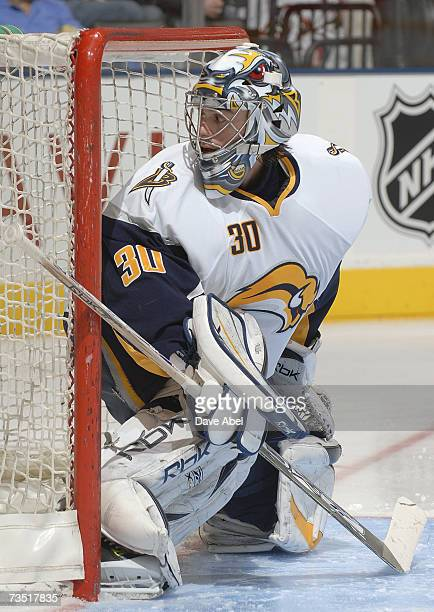 Goaltender Ryan Miller of the Buffalo Sabres defends his net against the Toronto Maple Leafs during their NHL game at Air Canada Centre on March 3...