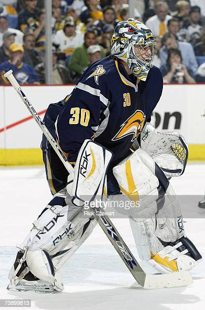Goaltender Ryan Miller of the Buffalo Sabres defends his net against the New York Islanders during Game 1 of their NHL Eastern Conference...