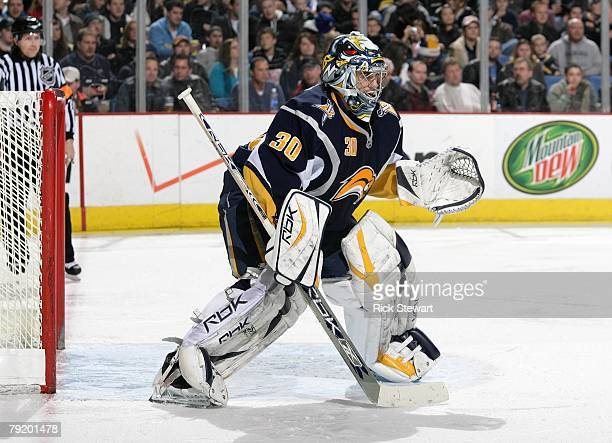 Goaltender Ryan Miller of the Buffalo Sabres defends his net against the Atlanta Thrashers during their NHL game on January 18, 2008 at HSBC Arena in...