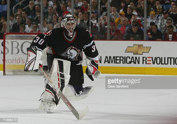 Goaltender Ryan Miller of the Buffalo Sabres is pulled for the man advantage against the Ottawa Senators in game four of the Eastern Conference...