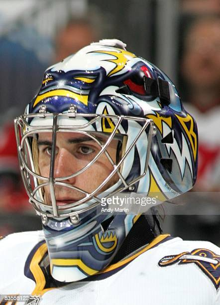 Goaltender Ryan Miller of the Buffalo Sabres looks on against the New Jersey Devils at the Prudential Center on November 3 2008 in Newark New Jersey