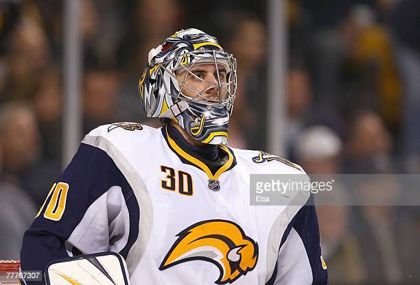 Goaltender Ryan Miller of the Buffalo Sabres looks on from his net area during their NHL game against the Boston Bruins on November 1 2007 at the TD...
