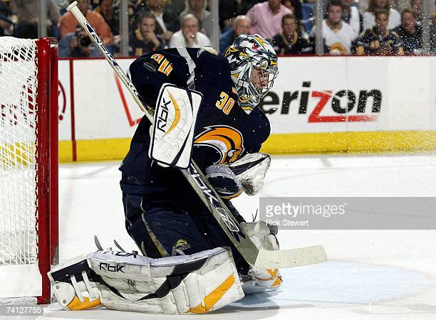 Goaltender Ryan Miller of the Buffalo Sabres makes a save during Game 1 of the 2007 Eastern Conference Finals against the Ottawa Senators on May 10...
