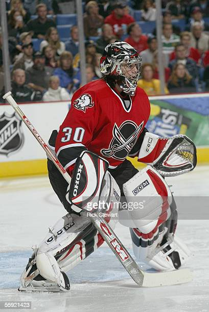 Goaltender Ryan Miller of the Buffalo Sabres sets up in his crease against the Boston Bruins on October 7 2005 at HSBC Arena in Buffalo New York The...