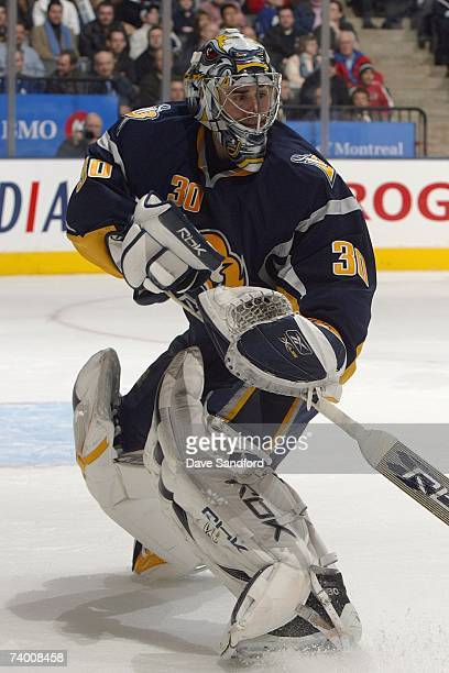Goaltender Ryan Miller of the Buffalo Sabres skates out of the crease area during their NHL game against the Toronto Maple Leafs at Air Canada Centre...