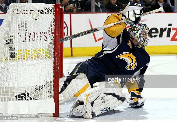 Goaltender Ryan Miller of the Buffalo Sabres tends the net against the Ottawa Senators in Game 2 of the 2007 Eastern Conference Finals on May 12 2007...