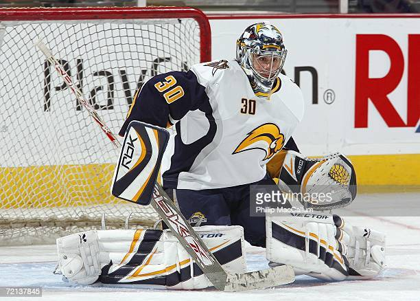 Goaltender Ryan Miller of the Buffalo Sabres warms up prior to the NHL game against the Ottawa Senators on October 7 2006 at the Scotiabank Place in...
