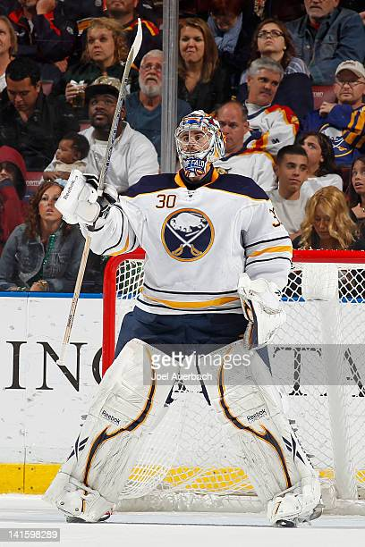 Goaltender Ryan Miller of the Buffalo Sabres watches action in the Florida Panthers zone during the second period on March 17 2012 at the...