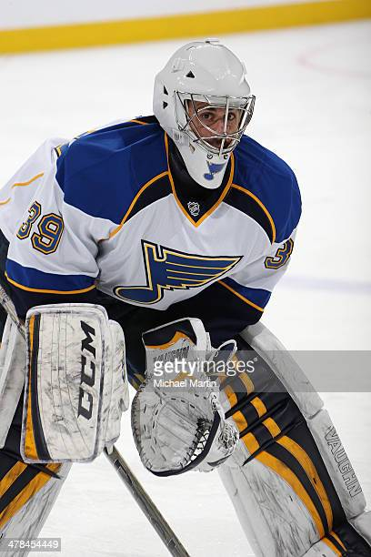 Goaltender Ryan Miller of the St Louis Blues stretches prior to the game against the Colorado Avalanche at the Pepsi Center on March 8 2014 in Denver...