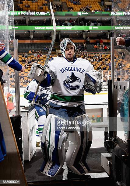 Goaltender Ryan Miller of the Vancouver Canuacks leaves the ice after the game against the Boston Bruins at TD Garden on January 21 2016 in Boston...