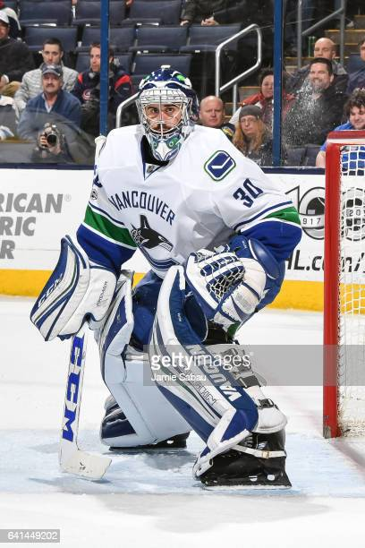 Goaltender Ryan Miller of the Vancouver Canucks defends the net against the Columbus Blue Jackets on February 9 2017 at Nationwide Arena in Columbus...