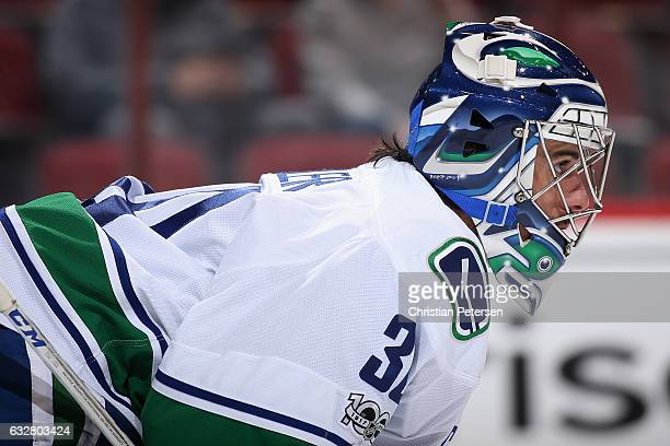 Goaltender Ryan Miller of the Vancouver Canucks looks down ice during the first period of the NHL game against the Arizona Coyotes at Gila River...