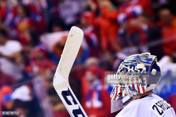 US goaltender Ryan Zapolski in the men's ice hockey preliminary round group B game between the Olympic Athletes from Russia and the United States...