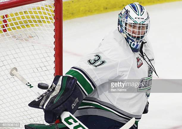 Goaltender Rylan Toth of the Seattle Thunderbirds makes a save against the Vancouver Giants during the second period of their WHL game at the Langley...
