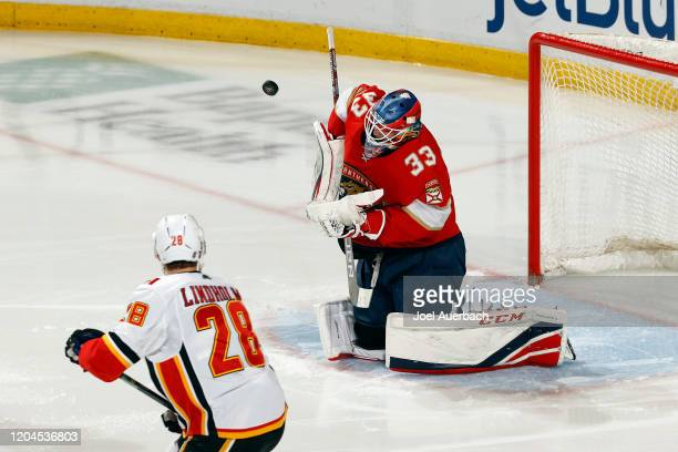 Goaltender Sam Montembeault of the Florida Panthers defends the net against the Calgary Flames at the BB&T Center on March 1, 2020 in Sunrise,...