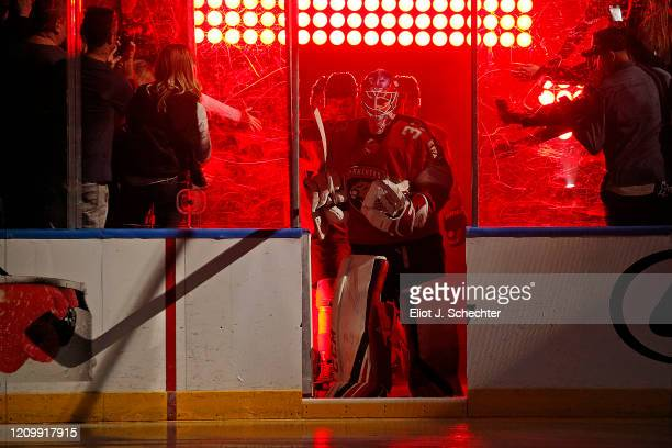 Goaltender Sam Montembeault of the Florida Panthers leads his team out to the ice for introductions prior to the start of the game against the...
