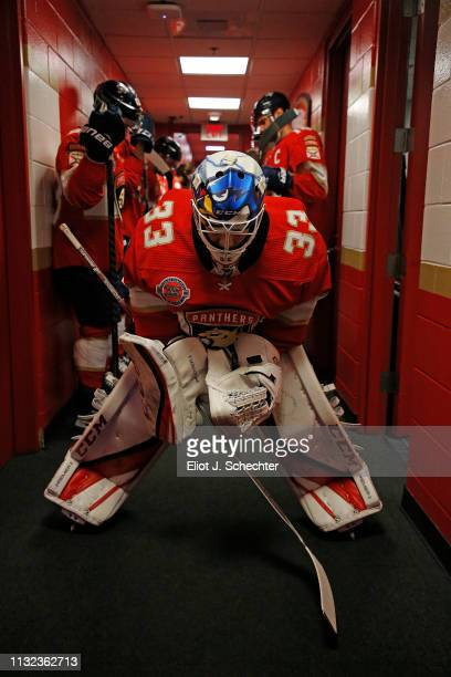 Goaltender Sam Montembeault of the Florida Panthers takes a moment to himself before coming out to the ice against the Boston Bruins at the BBT...