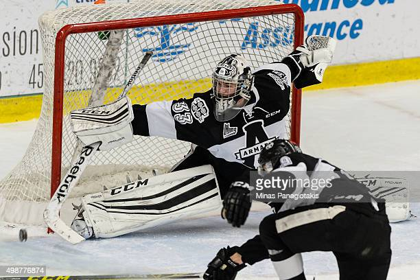 Goaltender Samuel Montembeault of the Blainville-Boisbriand Armada makes a stick save during the QMJHL game against the Moncton Wildcats at the...