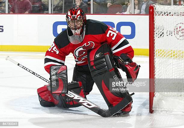 Goaltender Scott Clemmensen of the New Jersey Devils defends his goal against the New York Rangers at the Prudential Center on February 9, 2009 in...