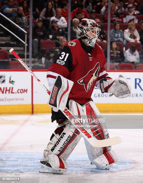 Goaltender Scott Wedgewood of the Arizona Coyotes in action during the second period of the NHL game against the San Jose Sharks at Gila River Arena...