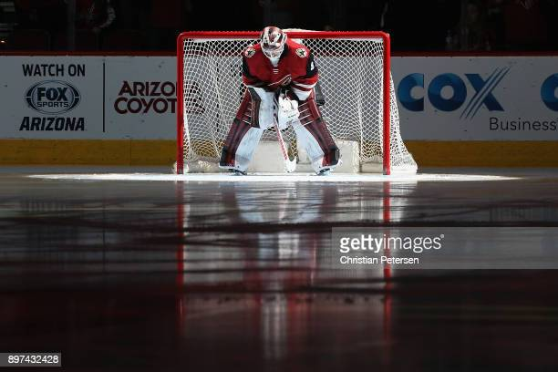 Goaltender Scott Wedgewood of the Arizona Coyotes is introduced before the NHL game against the Washington Capitals at Gila River Arena on December...