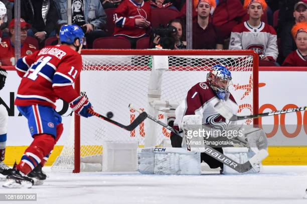 Goaltender Semyon Varlamov of the Colorado Avalanche allows a third period goal against the Montreal Canadiens during the NHL game at the Bell Centre...