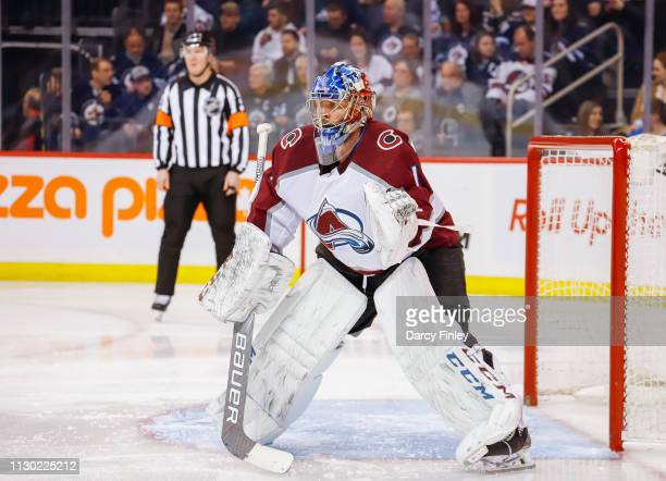 Goaltender Semyon Varlamov of the Colorado Avalanche guards the net during third period action against the Winnipeg Jets at the Bell MTS Place on...